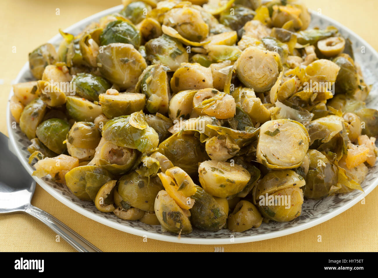 Moroccan dish with Brussels sprouts and preserved lemon close up - Stock Image