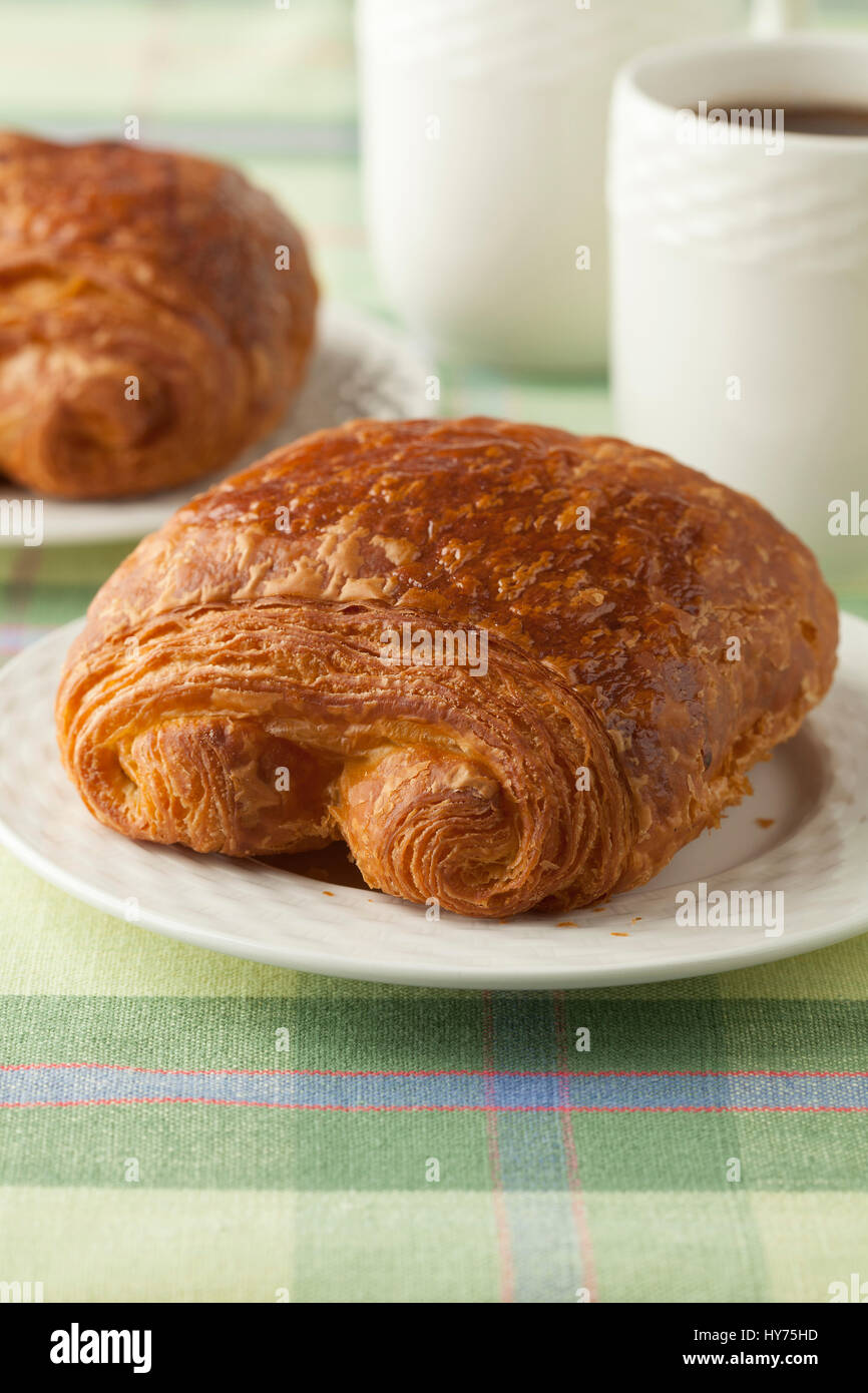 Fresh French Chocolate Croissant For Breakfast Stock Photo