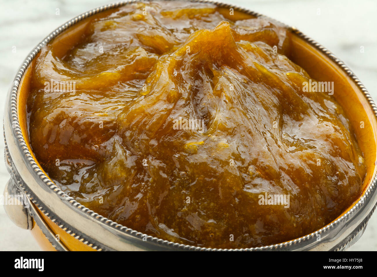 Traditional bowl with Moroccan black argan soap close up - Stock Image