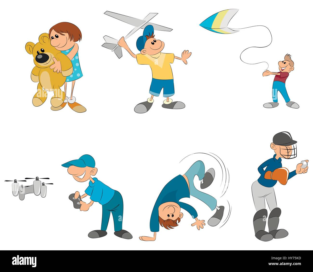 vector illustration of six kids playing - Stock Image