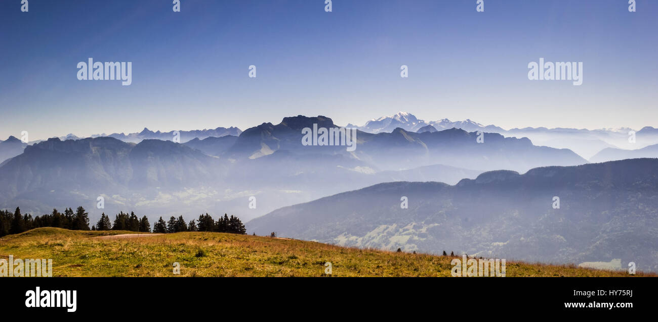 Alps and Mont Blanc (Monte Bianco) view from Cret de Chatillon, France - Stock Image
