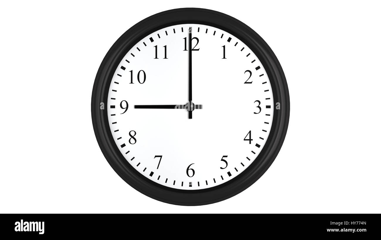 Realistic 3D render of a wall clock set at 9 o'clock, isolated on a white background. - Stock Image