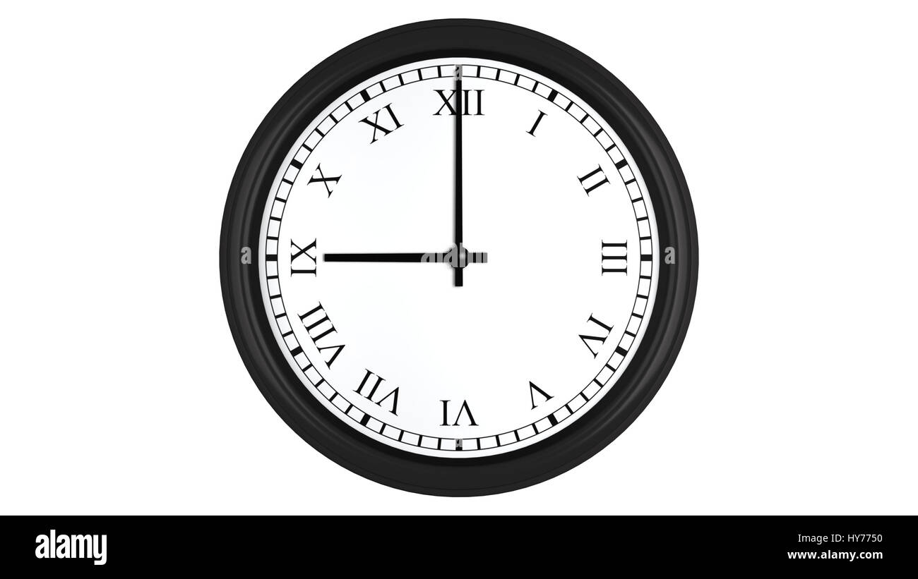Realistic 3D render of a wall clock with Roman numerals set at 9 o'clock, isolated on a white background. - Stock Image