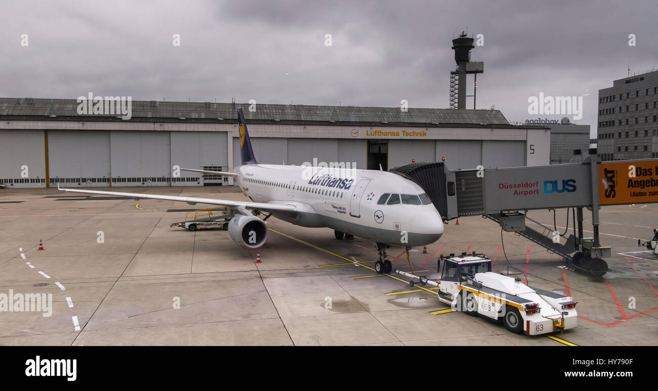 Lufthansa Airbus A320 in taxi position at Duesseldorf airport, Germany - Stock Image