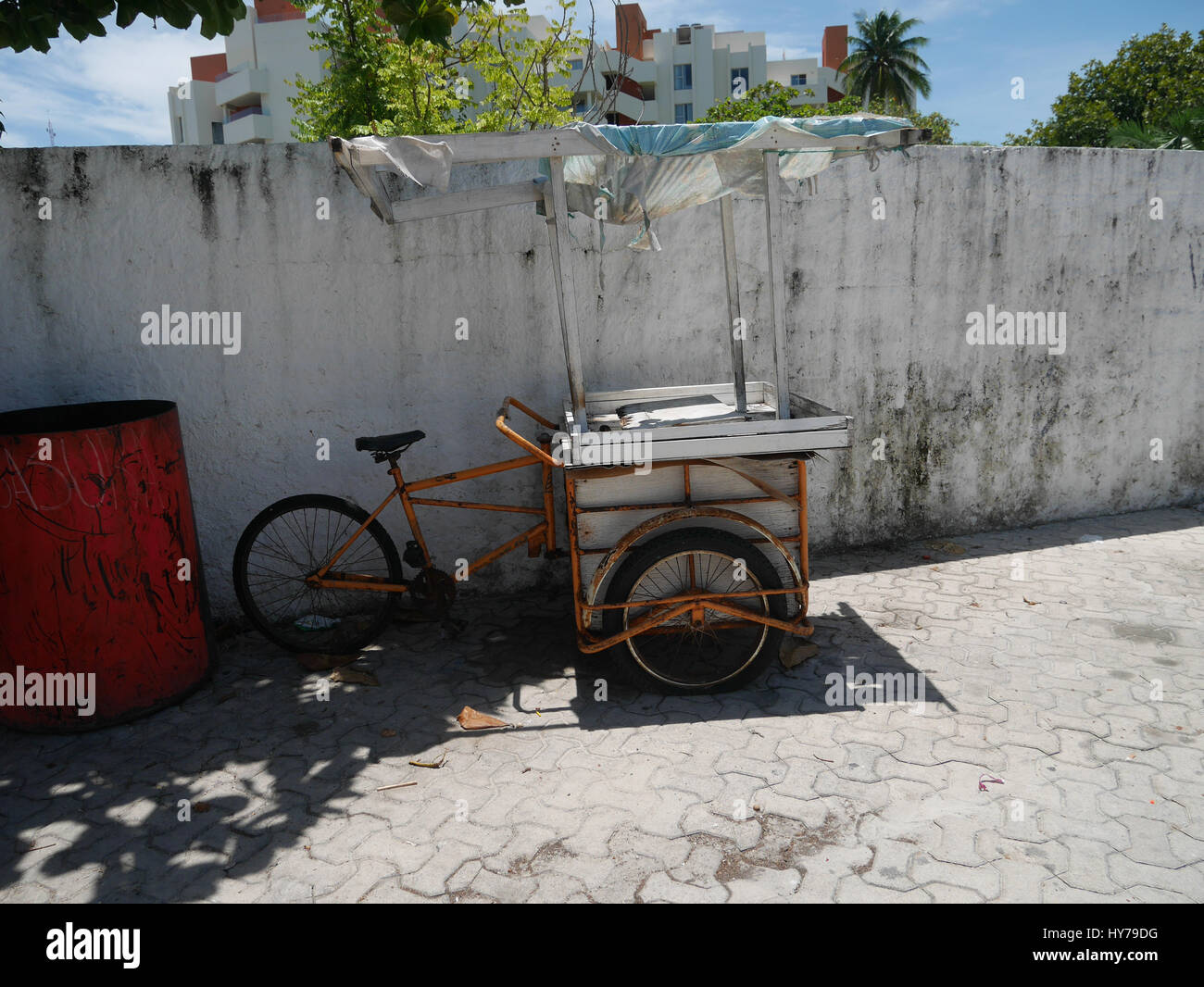 Three Wheeled Bicycle Made For Market With A Box And Storage For Ice Cream  And Small