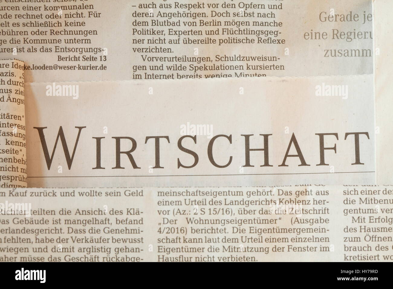 Newspaper, Text Economy (Wirtschaft in german) - Stock Image