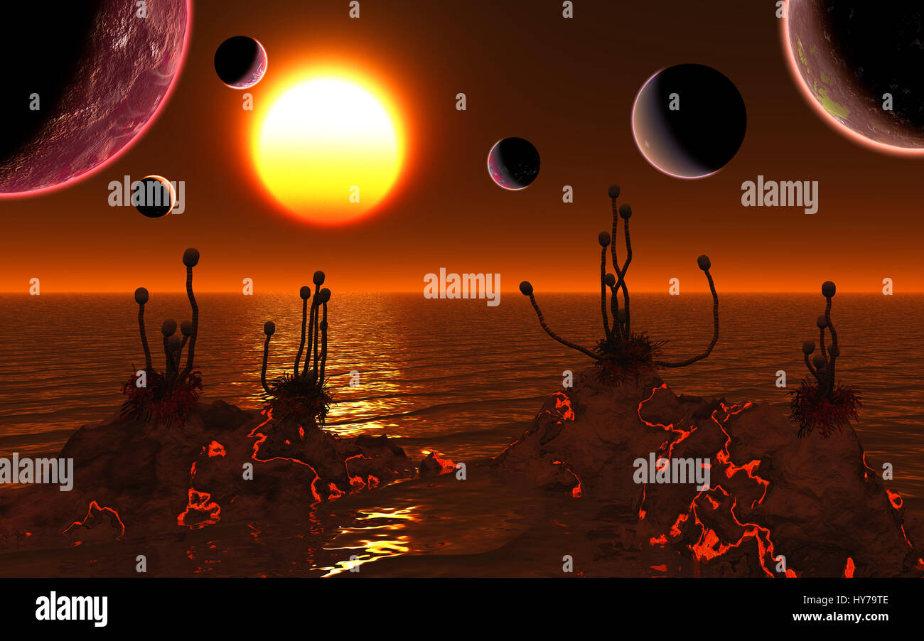 The Trappist Star System 39 Light Years From The Earth,With 7 Exoplanets In Orbit. All 7 Planets Are Similar To - Stock Image
