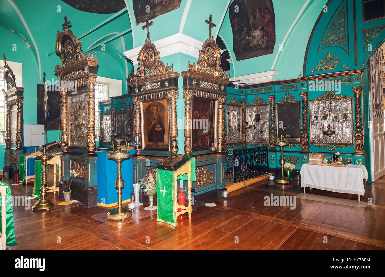 TVER REGION, RUSSIA - JULY 12, 2014: Interior of the Church of the Holy Face in the village Mlevo. Ancient orthodox Stock Photo