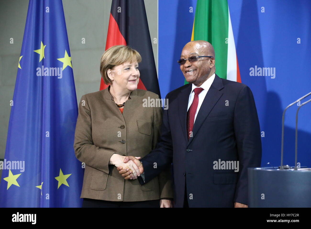 Berlin, Germany, November 10th, 2015: South African President Jacob Zuma for official visit. - Stock Image
