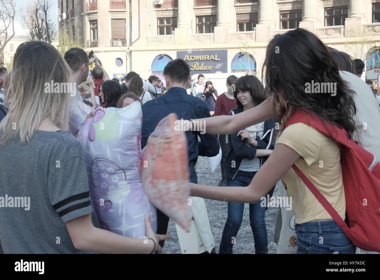 Bucharest, Romania. 01st Apr, 2017. International Pillow Fight Day 2017 in Bucharest, Romania. April 1st in cities around the World. Credit: Paul Hristea/Alamy Live News Stock Photo