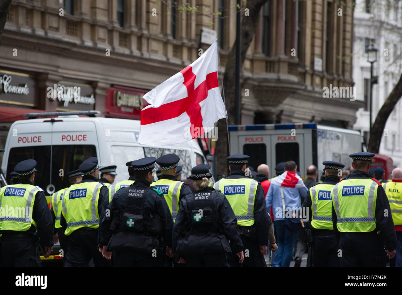 London, UK. 1st April, 2017.  The English Defence League (EDL) and Britain First held a protest march through London. - Stock Image