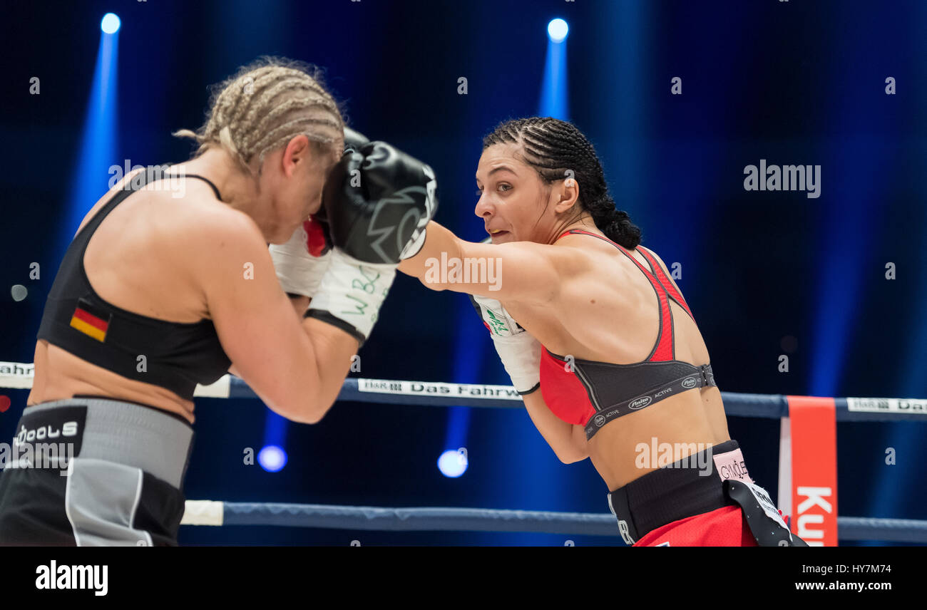 Dortmund, Germany. 1st Apr, 2017. Christina Hammer (r) from Germany and Maria Lindberg from Sweden in action during Stock Photo