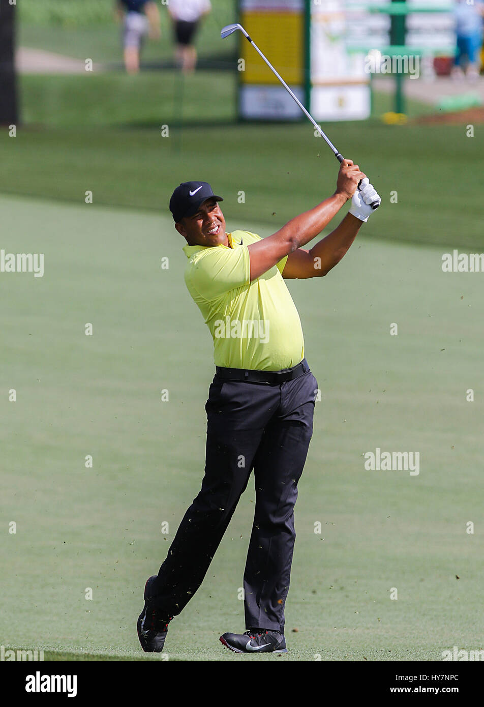 Humble, Texas, USA. 1st Apr, 2017. Jhonattan Vegas hits a shot off the fairway during the third round of the Shell - Stock Image