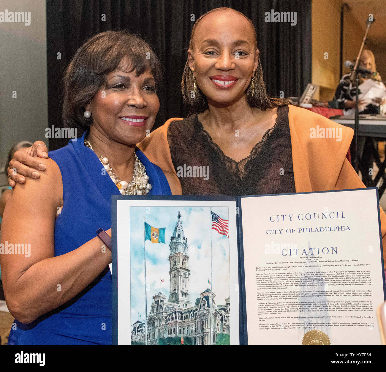 Philadelphia, Pennsylvania, USA. 1st Apr, 2017. SUSAN L TAYOR, best-selling author of four books, and editor of eight others and former Chief Editor of Essence Magazine receives a City of Philadelphia proclamation from City Councilwoman, BLONDELL REYNOLD BROWN, at the WDAS Women of Excellence Award Luncheon held at the Sheraton Hotel in Philadelphia Pa It's the3rd Annual WDAS Women of Excellence Luncheon presentedby Gwynedd Mercy University. Credit: Ricky Fitchett/ZUMA Wire/Alamy Live News Stock Photo