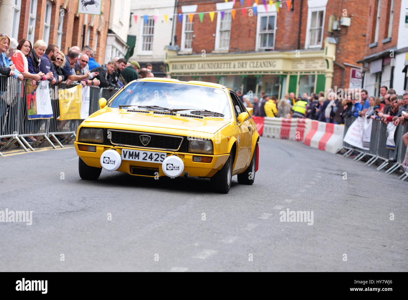 Bromyard Spped Festival, Herefordshire, UK - Sunday 2nd April 2017 - Vintage and classic cars roar through the town - Stock Image