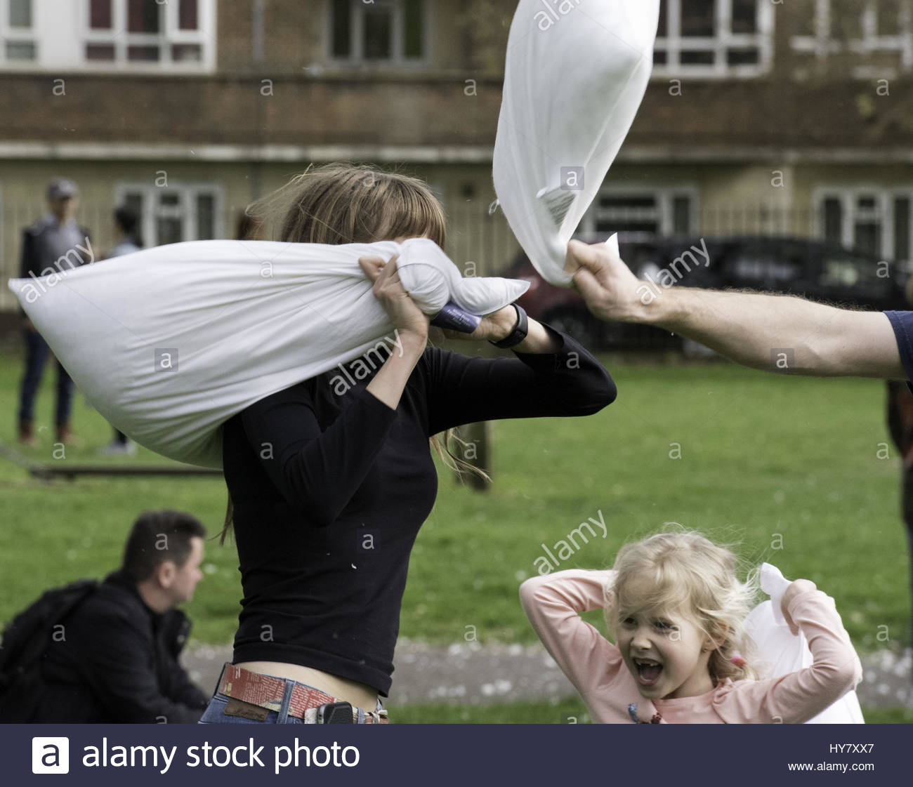 London, UK. 1st Apr, 2017. People participate in a pillow fight at Kennington Park in London on April 1, 2017, International - Stock Image