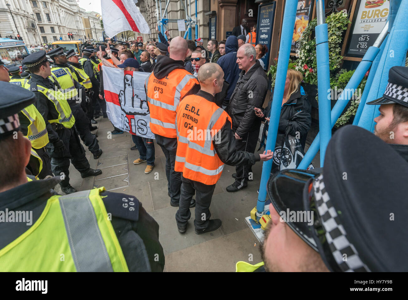 London, UK. 1st Apr, 2017. London, UK. 1st April 2017. Marches and rallies by Britain First and the EDL (English - Stock Image