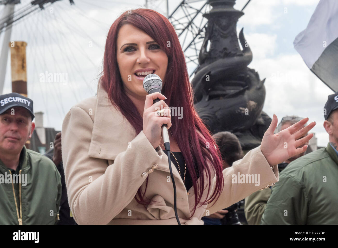London, UK. 1st Apr, 2017. Britain First Deputy Leader Jayda Fransen speaks in front of the crowd at their rally - Stock Image