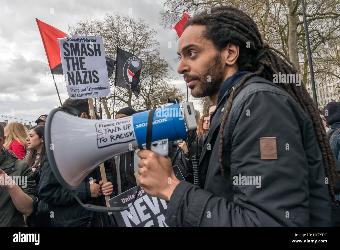 London, UK. 1st Apr, 2017. London, UK. 1st April 2017. Police kept the Anti-Fascist Network, London Antifascists - Stock Image