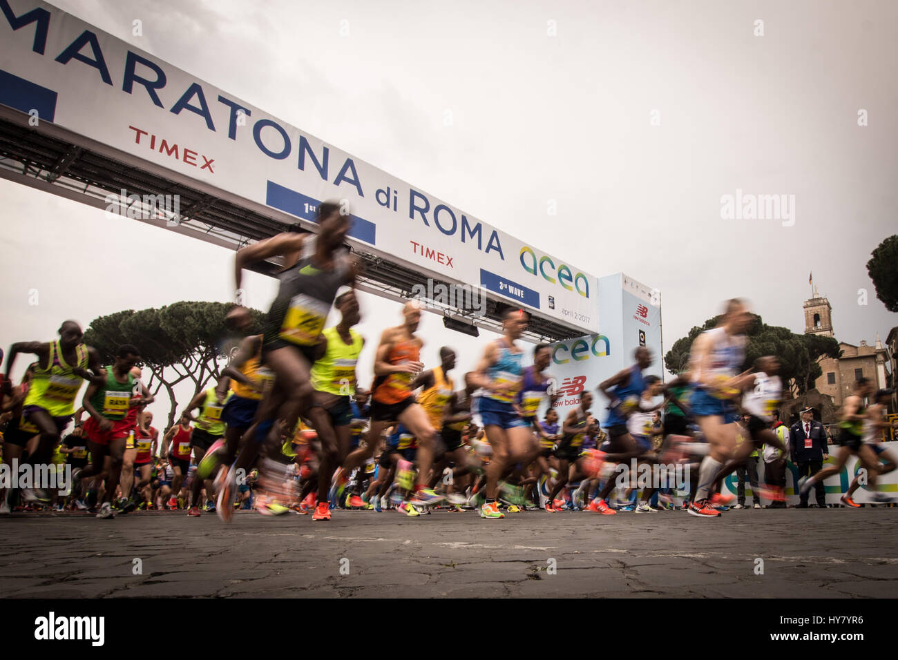 Rome, Italy. April 02 2017. Runners complete during the 23 edition of the Maratona di Roma (Rome Marathon ),an annual - Stock Image