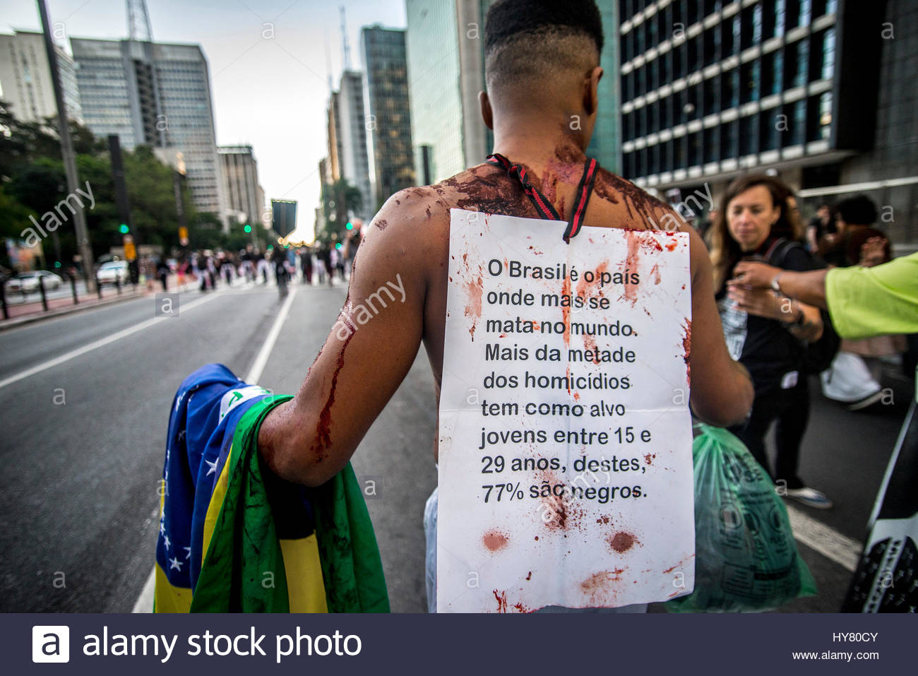 Sao Paulo, Brazil. 2nd Apr, 2017. A group called 'Mães de Maio' acts in São Paulo to draw society's - Stock Image