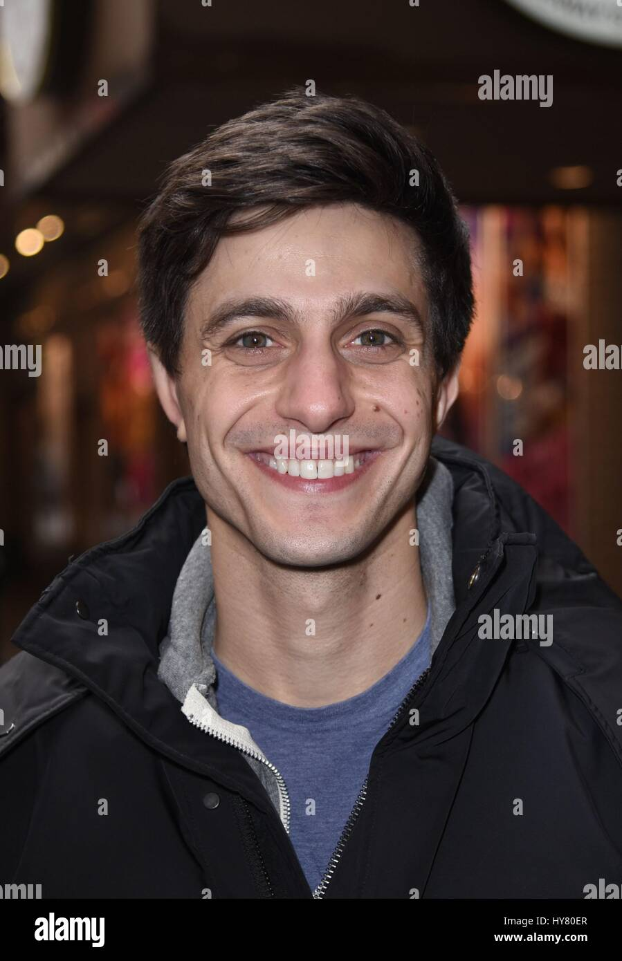 Gideon Glick exits the Booth Theater after his play 'Significant Other' out and about for Celebrity Candids - Stock Image