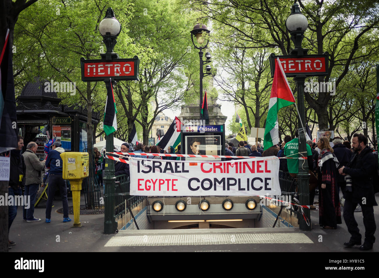 Demonstration at the call of the collective BDS supporting the boycott of Israel. -  01/04/2017  -  France / Ile - Stock Image