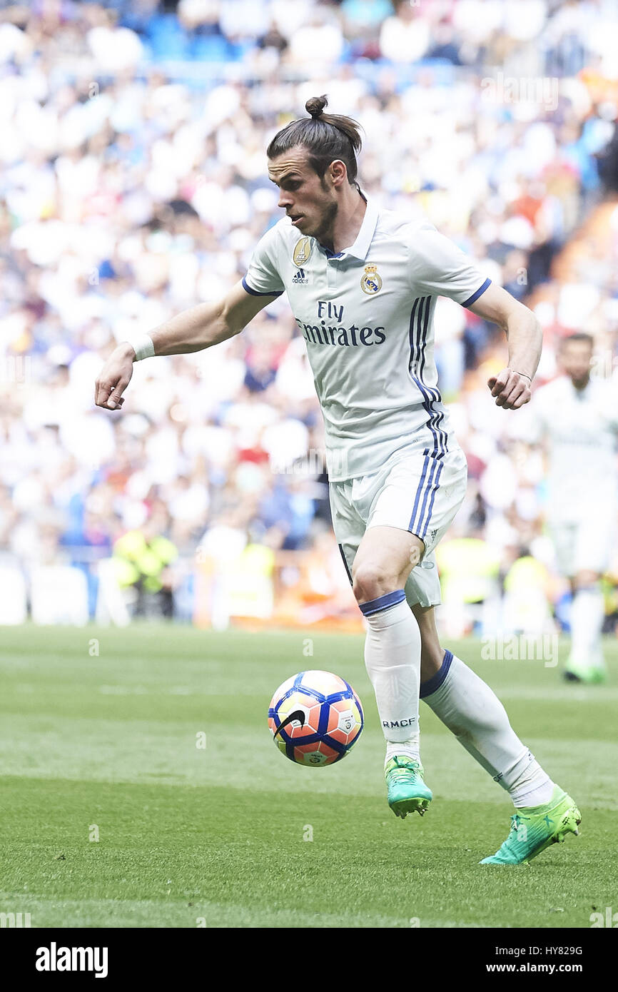 april 2 2017 madrid spain gareth bale midfielder real madrid