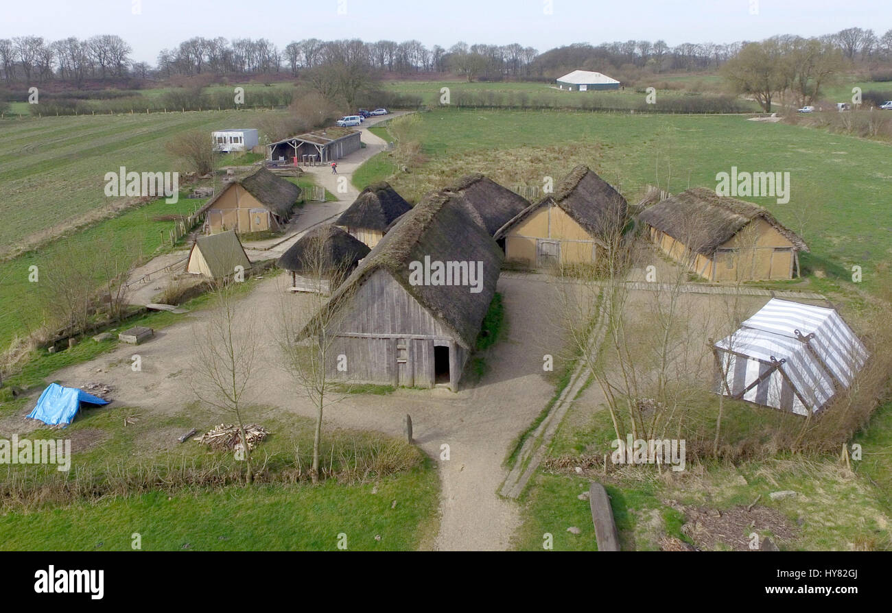 Busdorf, Germany. 31st Mar, 2017. View of the houses of the viking museum Haithabu in Busdorf, Germany, 31 March - Stock Image