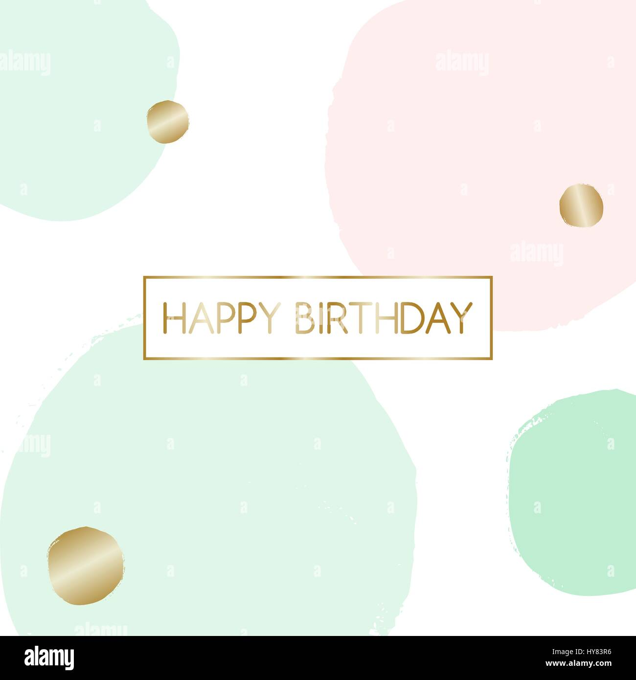 Birthday Greeting Card Design With Text Happy In Gold And Pink Mint Green Bubbles The Background