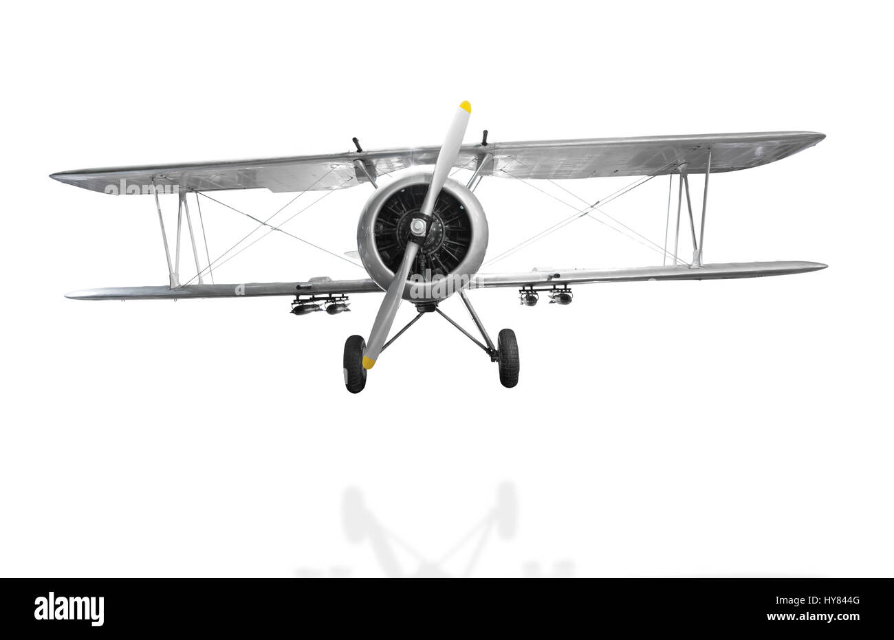Old fighter plane isolated on white background with clipping path - Stock Image