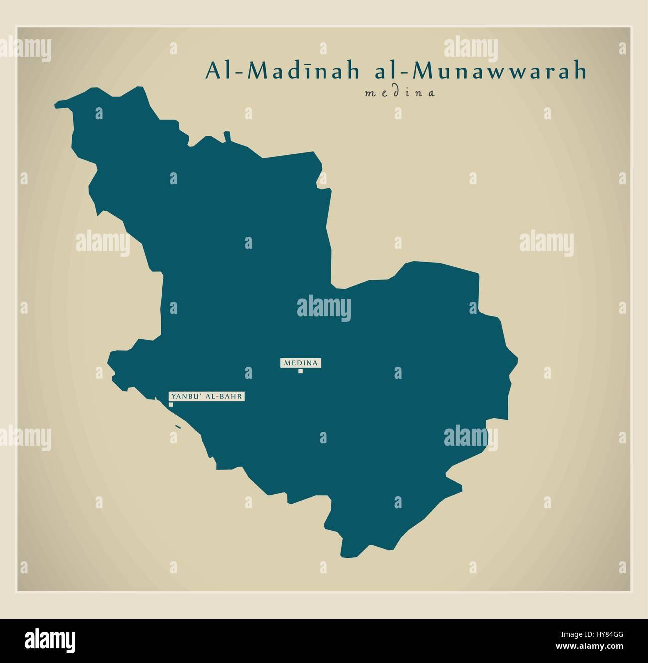 Modern Map - Al-Madinah al-Munawwarah SA - Stock Image