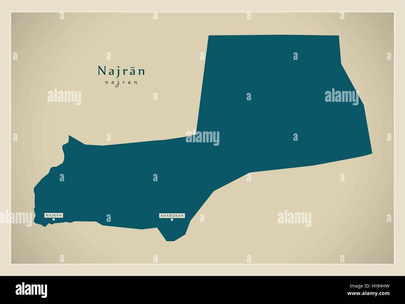Modern Map - Najran SA - Stock Vector