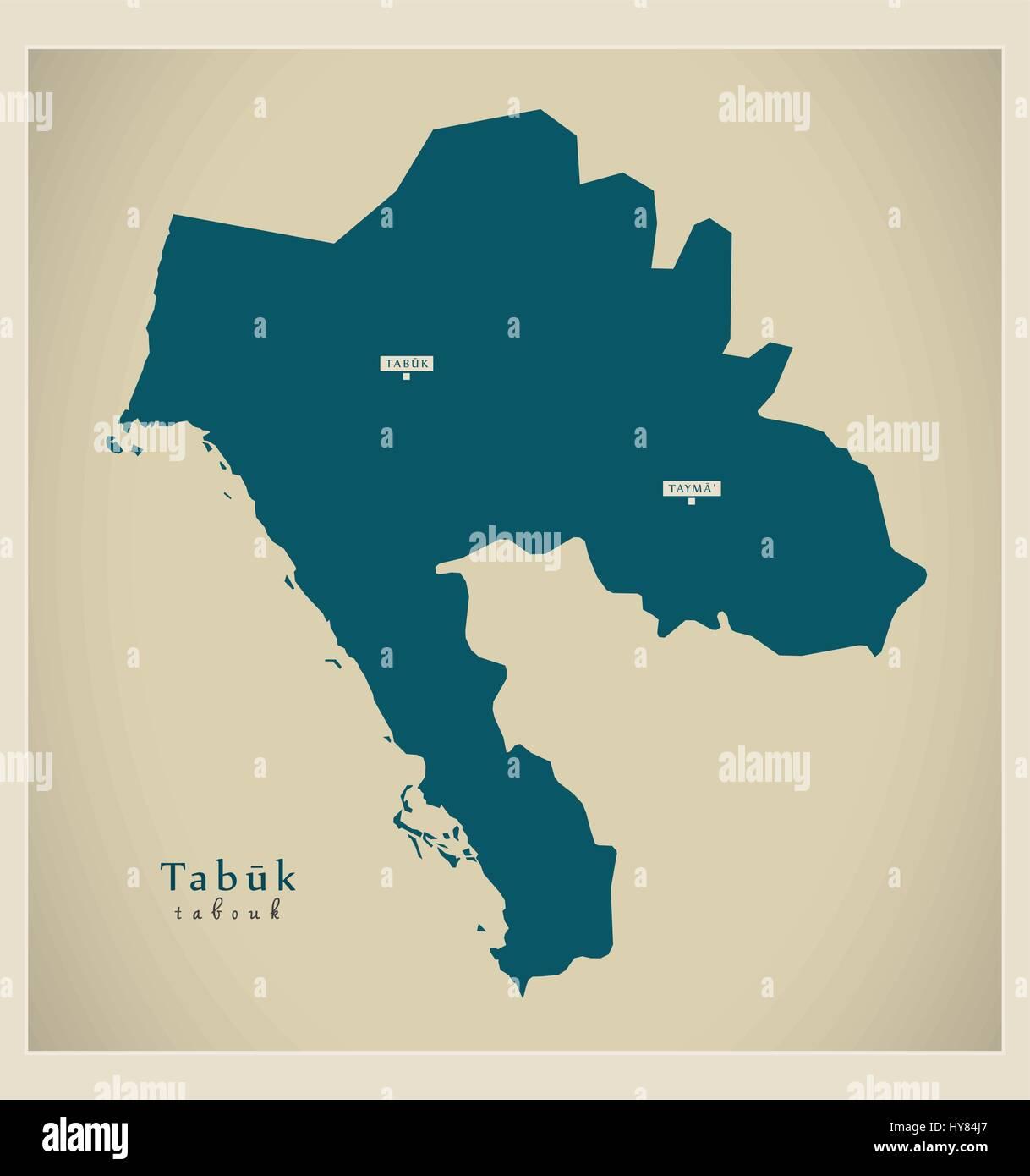 Modern Map - Tabuk SA - Stock Vector