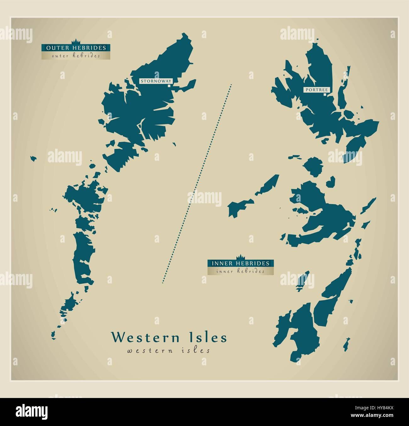 Modern Map - Western Isles UK - Stock Vector