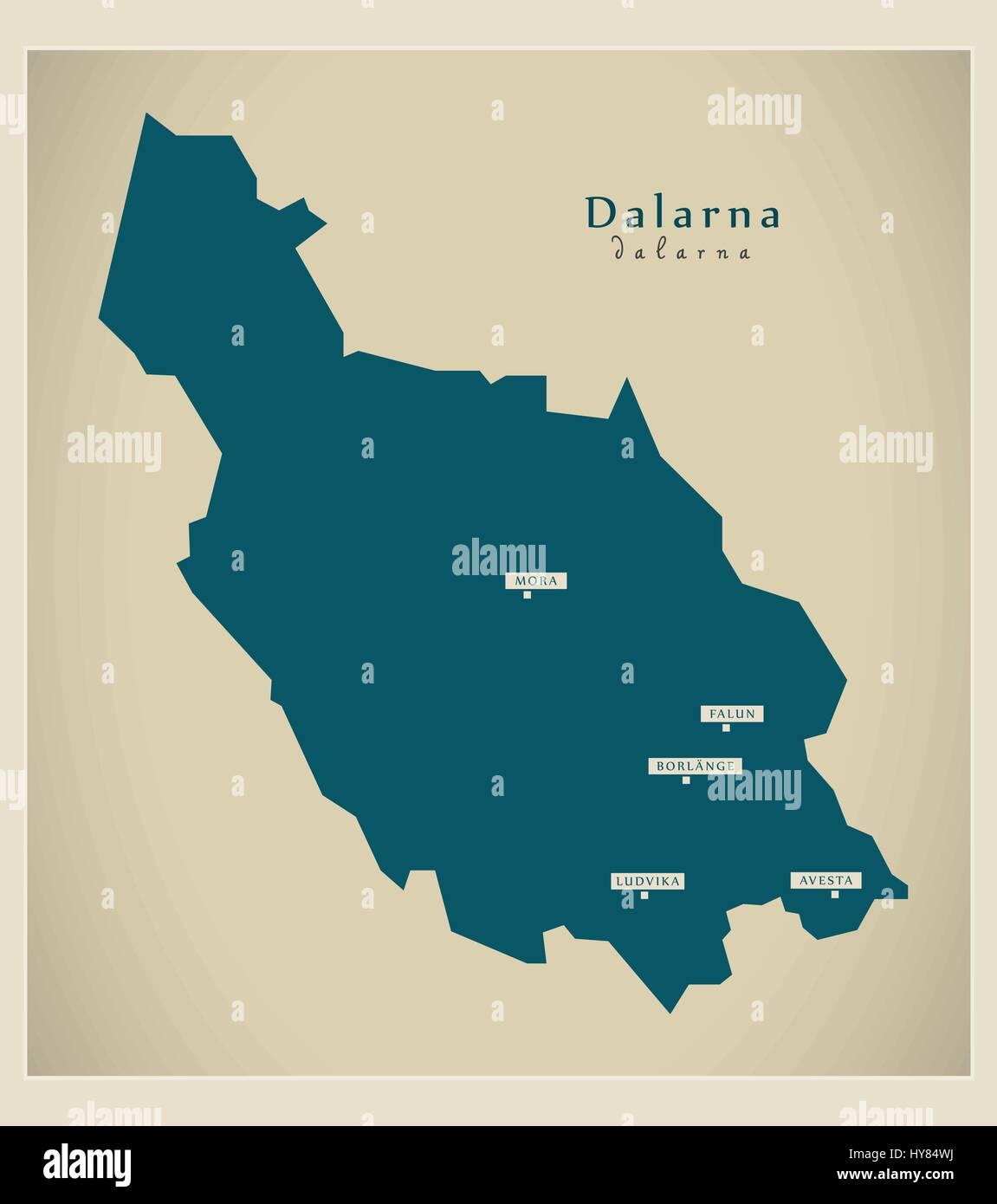 Modern Map - Dalarna SE - Stock Image