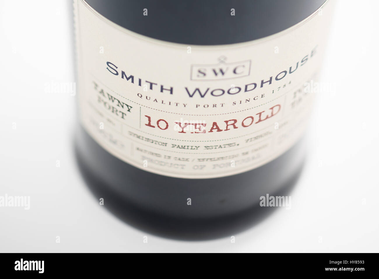 Wine label of a bottle of 10 year old tawny port from Smith Woodhouse Stock Photo