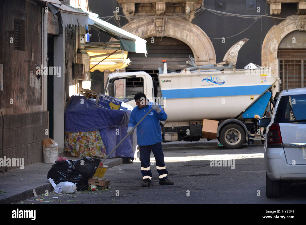 Garbage disposal, Catania, Sicily, Italy, Muellabfuhr, Sizilien, Italien Stock Photo