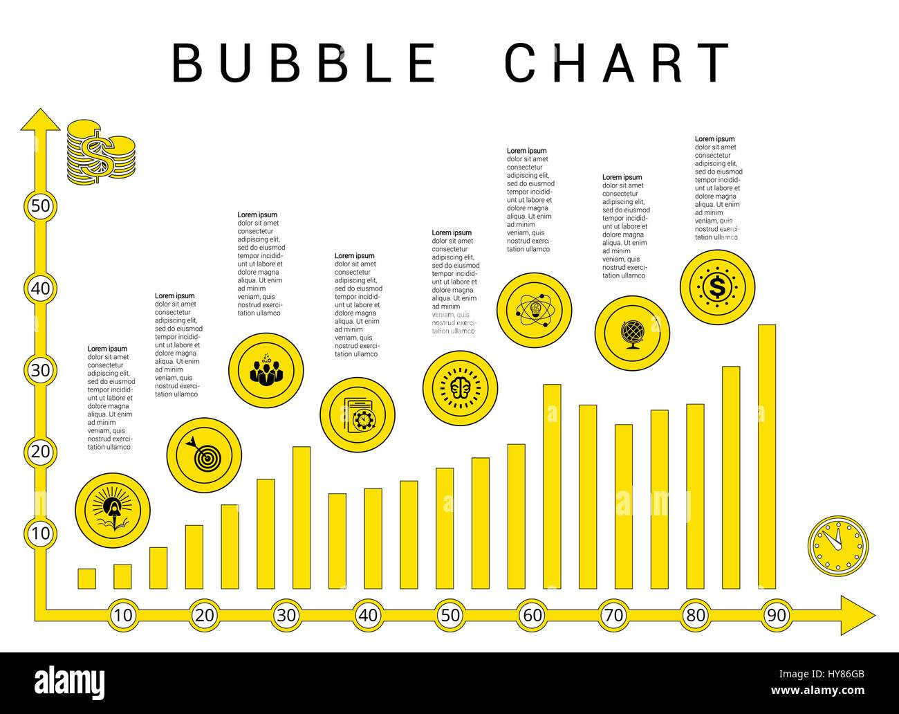 vector template bubble chart yellow black diagramme on white stock