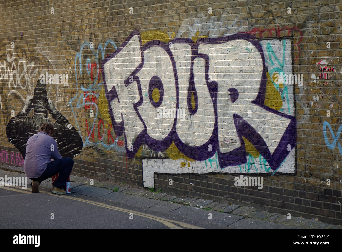 Graffiti and street art in brick lane east london uk stock image