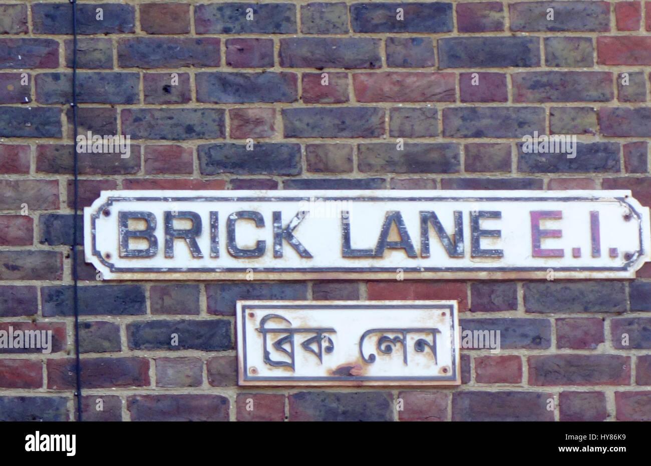 Brick Lane sign, London, England, UK Stock Photo