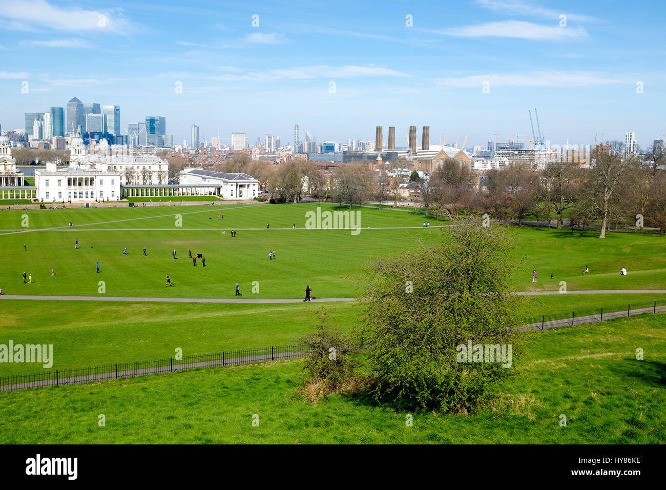 View of Canary Wharf from Greenwich Park, Greenwich, London Stock Photo