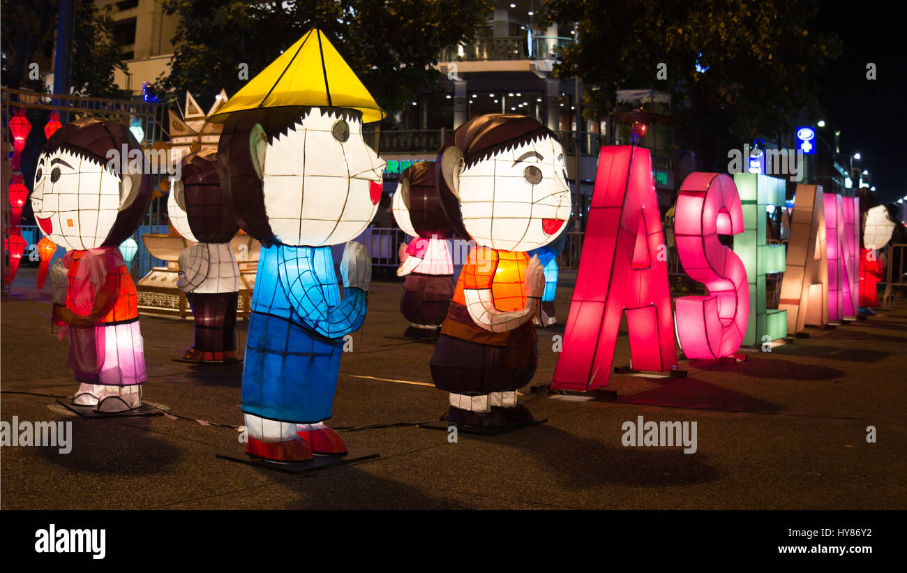 Illuminated figures with ASEAN sign on the street in Chiang Mai, Thailand - Stock Image