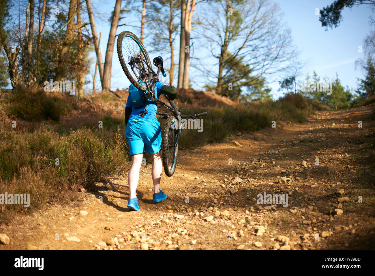 A man carries his mountain bike in the woods - Stock Image