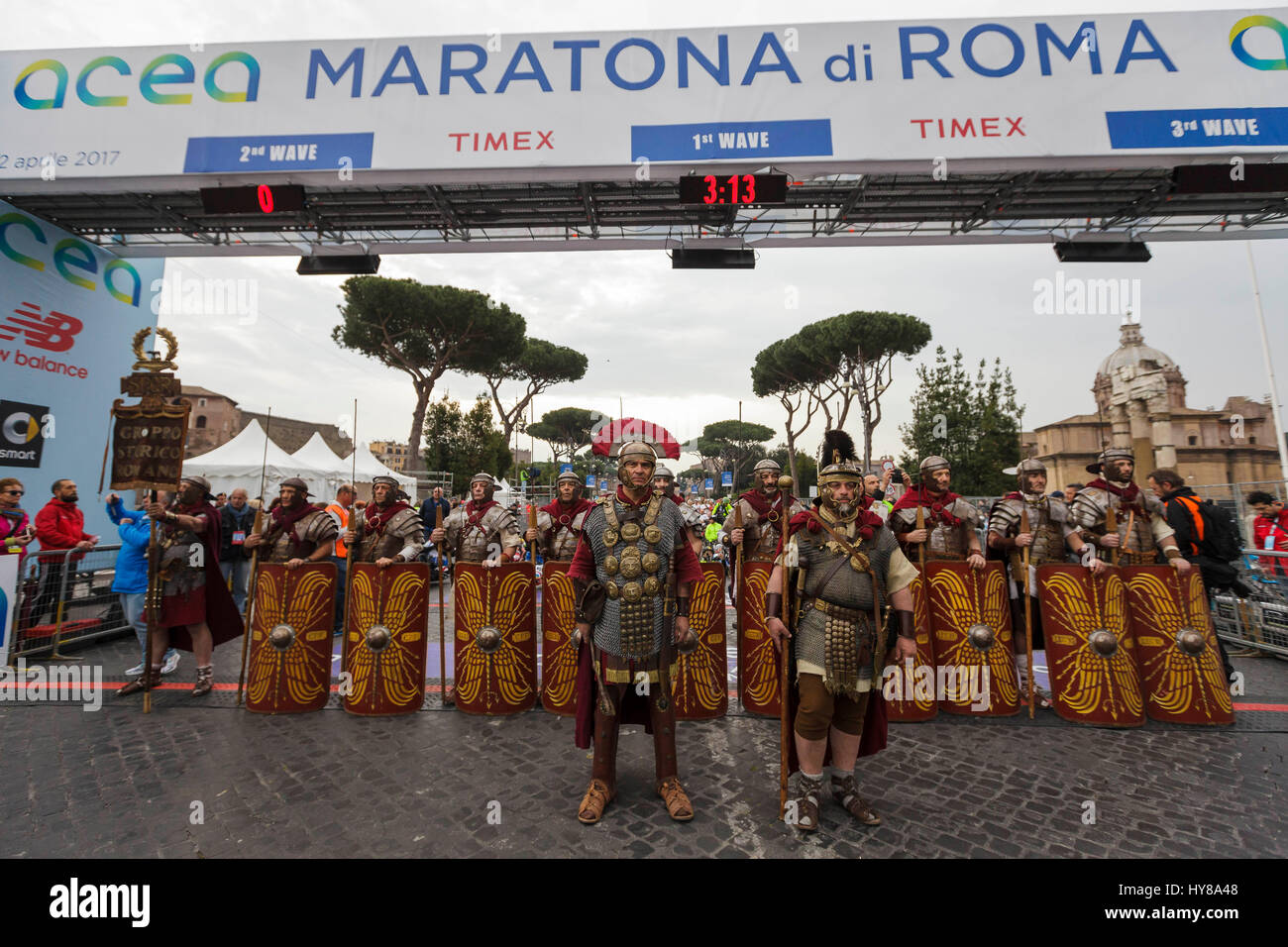 Rome, Italy. 02nd Apr, 2017. Runners compete during the 23rd edition of the Maratona di Roma (Rome Marathon), an - Stock Image