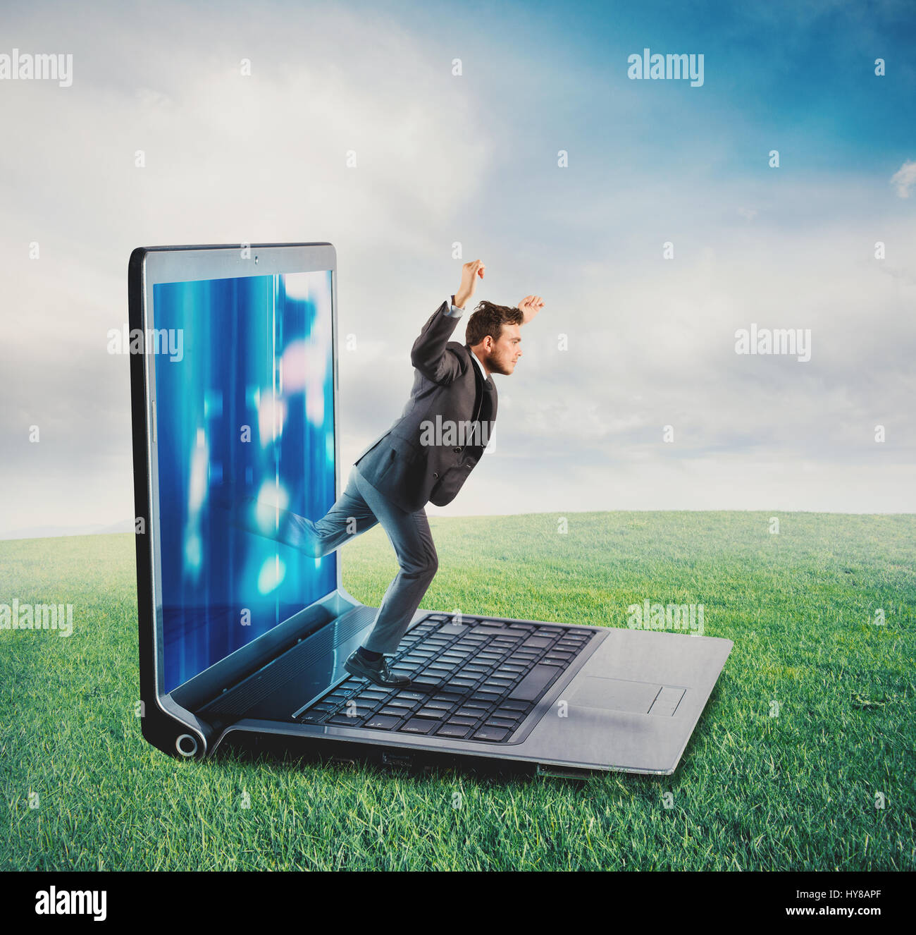 Technology addiction concept - Stock Image