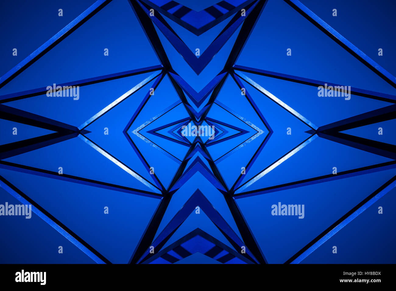 Blue and Black lines mirrored intersecting - Stock Image