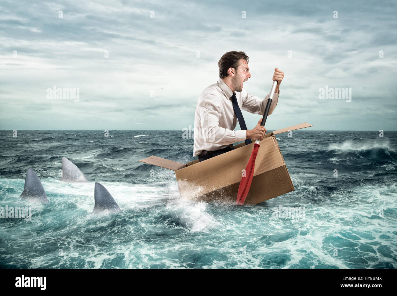 Escape from crisis - Stock Image
