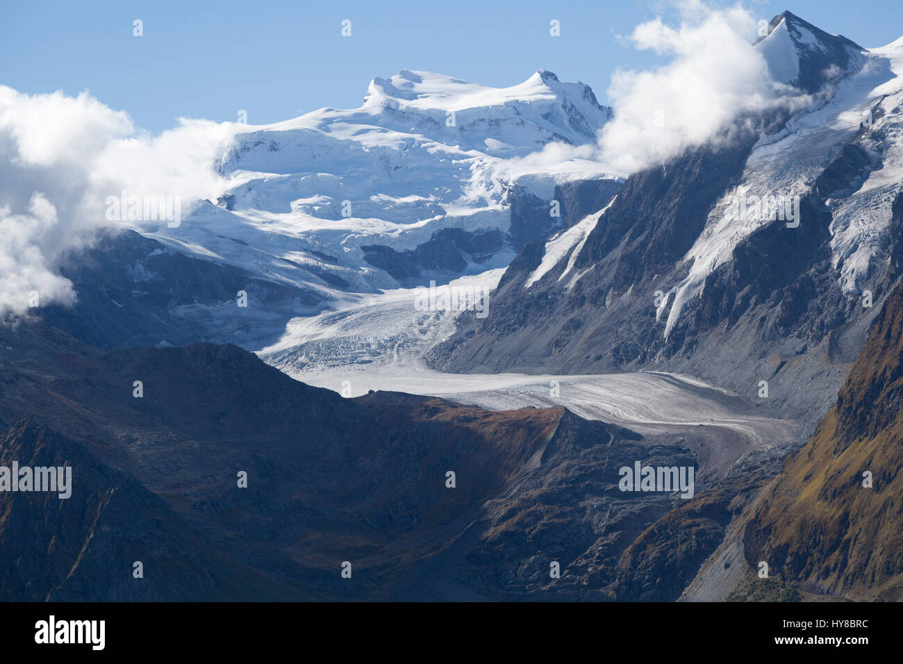 View from Cabane Du Mont Fort, looking towards the' Grand Combin' and the 'Glacier de Corbassiere' - Stock Image