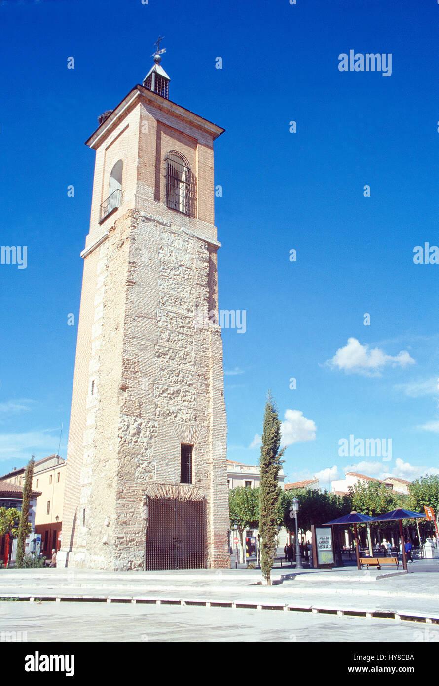 Santa Maria tower. Cervantes Square, Alcala de Henares, Madrid province, Spain. - Stock Image